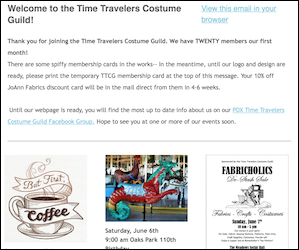 Time Travelers Costume Guild Newsletter